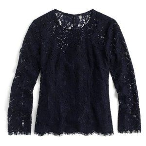 J Crew Long Sleeve Lace Top Shirt Navy Blue 6